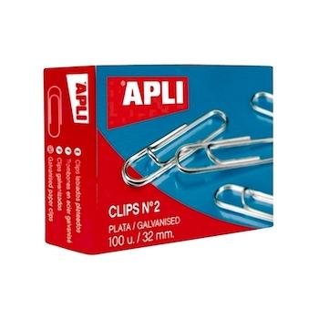 Agrafe pentru birou Apli, 32 mm, zincate, 100 bucati/cutie