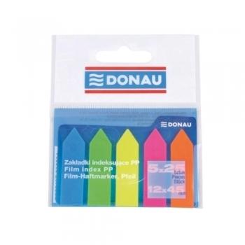 Index autoadeziv din plastic, Donau, dimensiuni 42 x 12 mm, 5 culori x 25 file/culoare