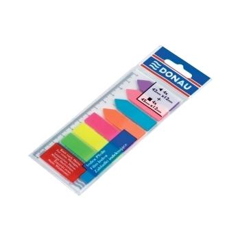 Index autoadeziv din plastic, Donau, dimensiuni 12 x 45 mm, 8 culori x 25 file/culoare