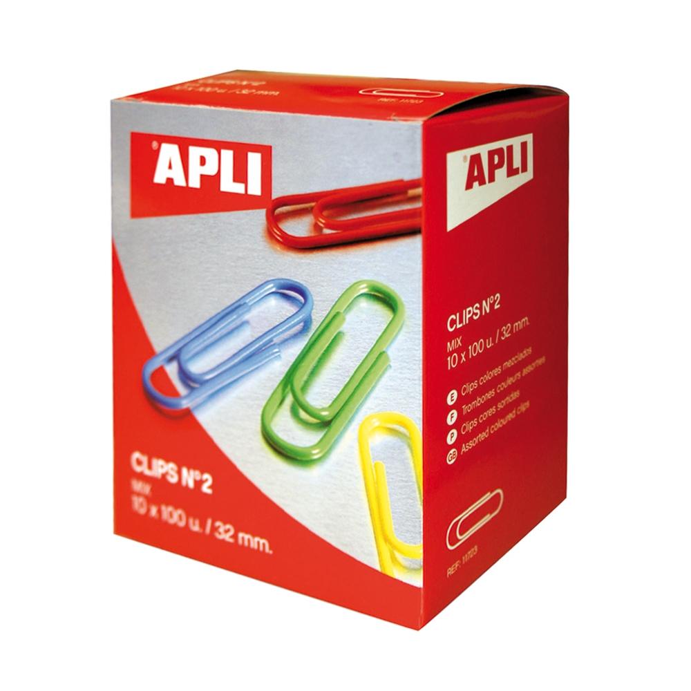 Agrafe pentru birou Apli, 32 mm, colorate, 100 bucati/cutie