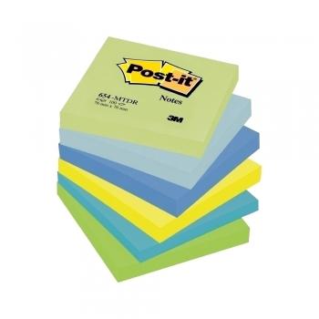 Notite adezive, Post-it, 76 x 76 mm, 100 file, 6 bucati/set, neon, verde, albastru, galben