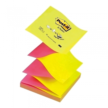 Notite adezive, Post-It, Z-Notes, roz-galben neon, 76 x 76 mm, 100 file