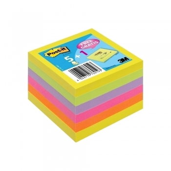 Notite adezive, Post-It, Z-notes, 76 x 76 mm, 6 culori/set, 5+1 gratis