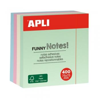 Notite adezive, Apli, 75 x 75 mm, 400 file, 4 culori pastel