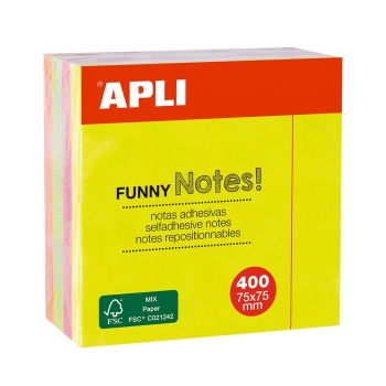 Notite adezive, Apli, 75 x 75 mm, 400 file, 4 culori neon
