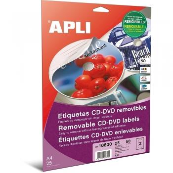 Etichete autoadezive Apli multimedia, A4, CD/DVD, diametru exterior: 117 mm, diametru interior: 18 mm, 50 bucati, 25 coli/set