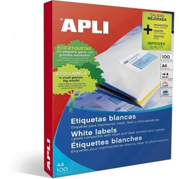 Etichete autoadezive Apli, A4, colturi rotunjite, 99.1 x 93.1 mm, 600 bucati, 100 coli/top