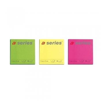 Notite adezive, A-Series, 75 x 75 mm, 100 file, neon, galben, roz, verde