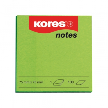 Notite adezive, Kores, 75 x 75 mm, verde, 100 file