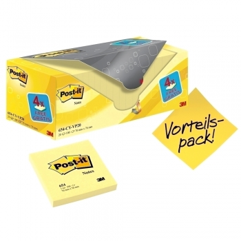 Notite adezive, Post-it, 76 x 76 mm, galben, 100 file/set, 16 bucati +4 Gratuite