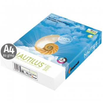 Hartie reciclata, Nautilus, Super White A4, 80 g, 500 coli/top