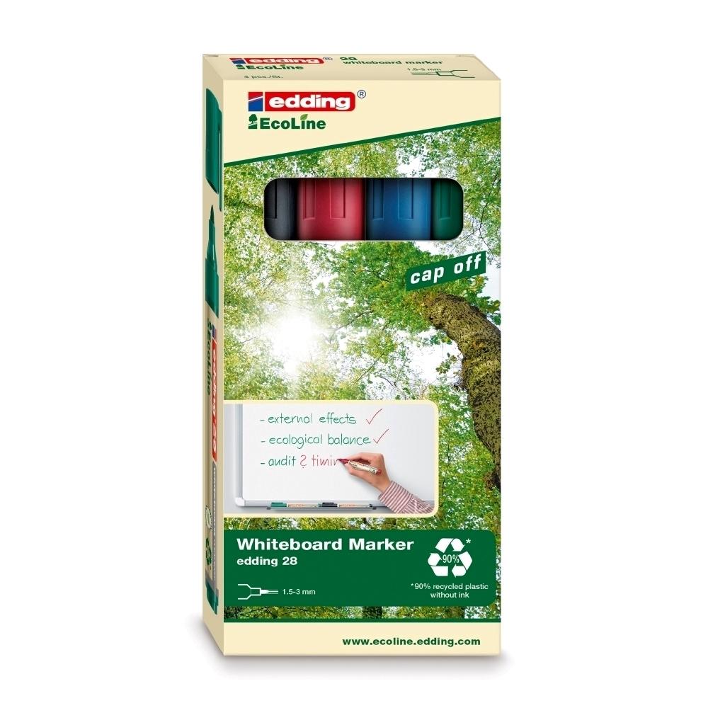 Marker pentru tabla Edding 28, ecologic, varf rotund, 1.5-3 mm, 4 culori/set (negru, rosu, albastru, verde)