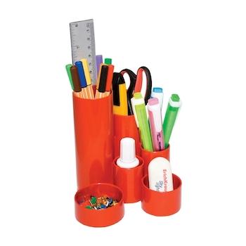 Suport pentru accesorii de birou Flaro, 4 compartimente, neechipat, rosu