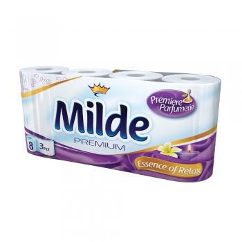 Hartie igienica Milde Premium, 3 straturi, 8 role/set