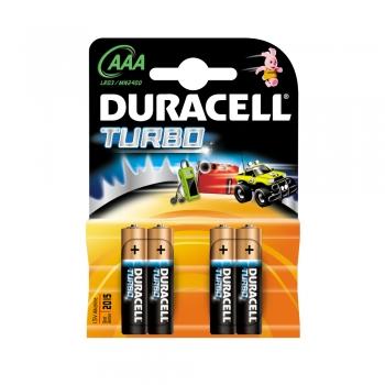 Baterii Duracell Turbo, LR03, AAA, alcaline, 1.5 V, 4 bucati/set