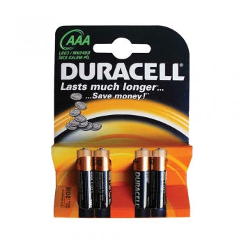 Baterii Duracell Basic, LR03, AAA, alcaline, 1.5 V, 4 bucati/set