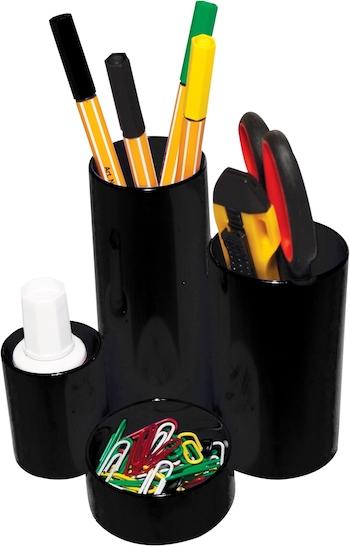 Suport pentru accesorii de birou Flaro, 4 compartimente, neechipat, negru