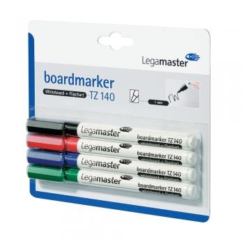 Marker pentru tabla Legamaster TZ140, varf rotund, 1 mm, 4 culori/set (negru, rosu, albastru, verde)