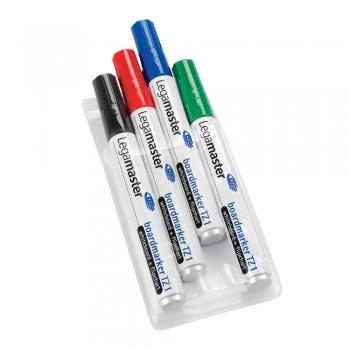 Marker pentru tabla Legamaster TZ1, varf rotund, 1.5-3 mm, 4 culori/set (negru, rosu, albastru, verde)