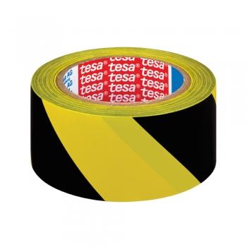 Banda adeziva de marcare Tesa,  negru/galben, 50 mm x 33 m