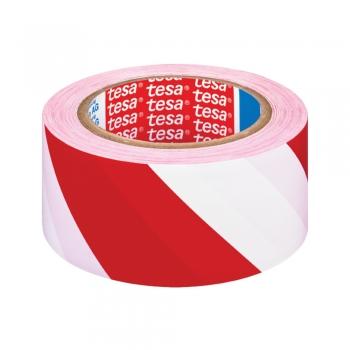 Banda adeziva de marcare Tesa,  alb/rosu, 50 mm x 33 m