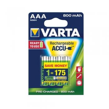 Acumulatori Varta, HR03, AAA, 800 mAh, 4 bucati/set