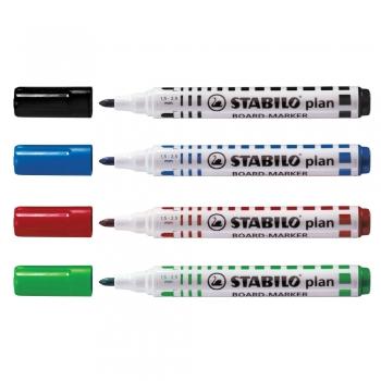 Marker pentru tabla Stabilo Plan 64, varf rotund, 2.5-3.5mm, 4 bucati/set ( negru, rosu, albastru, verde)