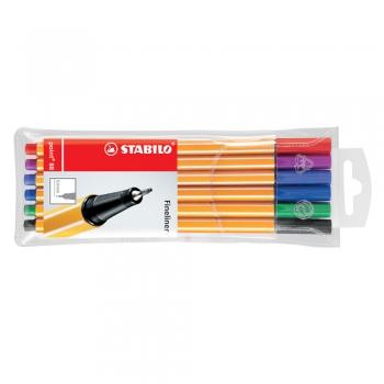 Liner Stabilo Point 88, varf fetru, 0.4 mm, 6 culori/set (rosu, negru, albastru, verde, roz, mov)