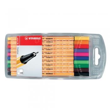 Liner Stabilo Point 88, varf fetru, 0.4 mm, 10 culori/set (rosu, negru, albastru, verde, roz, mov, verde deschis, violet, orange, galben)