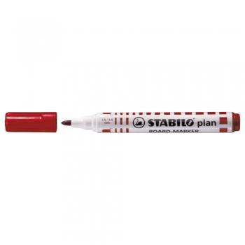 Marker pentru tabla Stabilo Plan 64, varf rotund, 2.5-3.5mm, rosu
