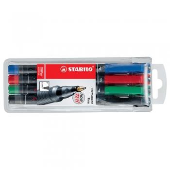 Marker permanent Stabilo Universal OHP 842, corp plastic, varf rotund, 0.7 mm, 4 bucati/set (negru, rosu, albastru, verde)
