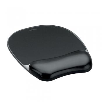 Mouse pad ergonomic cu gel Fellowes Crystal, negru