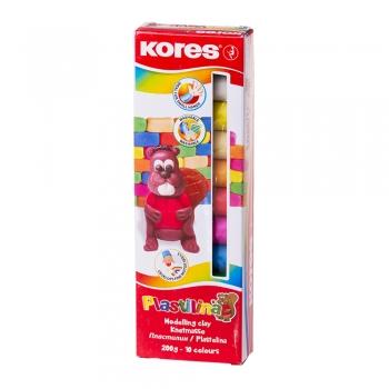 Plastilina Kores, 20 g/culoare, 10 culori/cutie