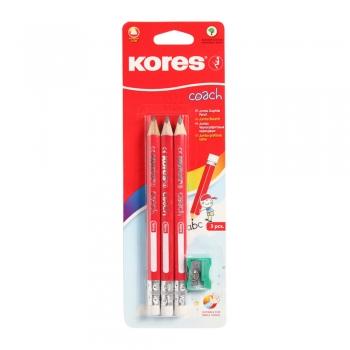 Creioane Kores triunghiulare Coach Grafitos, 3 bucati/set