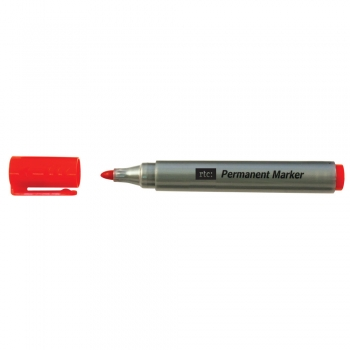Marker permanent RTC, corp plastic, varf rotund, 2-3 mm, rosu, 12 bucati/cutie