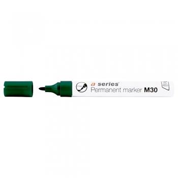 Marker permanent A-series, corp aluminiu, varf rotund 1-3 mm, verde