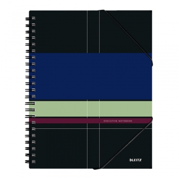 Caiet de birou Leitz Executive Be Mobile, PP, A4, cu spira, dictando, negru/violet