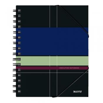 Caiet de birou Leitz Executive Be Mobile, PP A5, cu spira, matematica, negru/violet