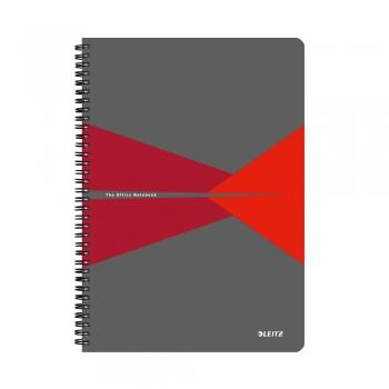 Caiet de birou Leitz Office, PP, A5, cu spira, matematica, rosu