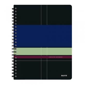 Caiet de birou Leitz Executive Get Organized, PP, A4, cu spira, dictando, negru/violet