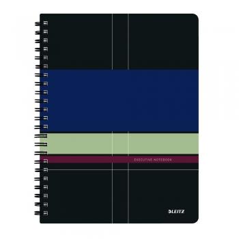 Caiet de birou Leitz Executive, PP, A4, cu spira, matematica, negru/violet
