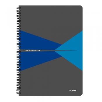 Caiet de birou Leitz Office, carton, A4, cu spira, matematica, albastru