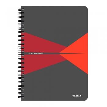 Caiet de birou Leitz Office, carton, A5, cu spira, matematica, rosu