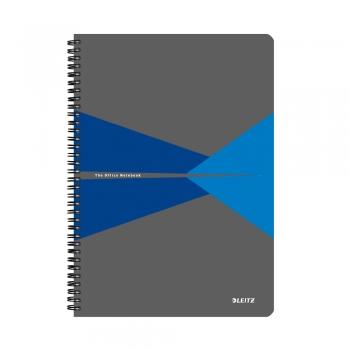 Caiet de birou Leitz Office, carton, A5, cu spira, dictando, albastru