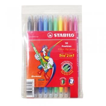 Marker Stabilo Trio 2in1 pentru copii 10 buc/set