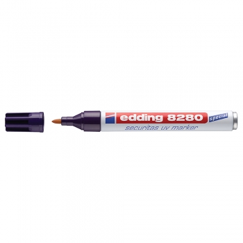 Marker permanent Edding UV 8280, varf rotund, 1.5-3 mm, alb