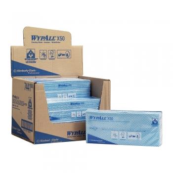 Lavete Kimberly-Clark Wypall X50, albastre, 50 bucati/pachet