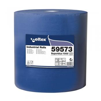 Rola lavete industriale, Celtex Superblue, 3 straturi, hartie albastra, 1000 portii/rola