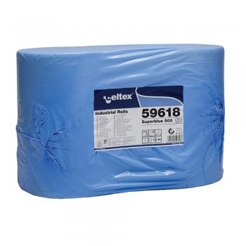 Rola lavete industriale,Celtex 59618, 3 straturi, hartie albastra, 500 portii/rola, 2 role/set