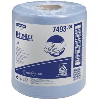 Rola lavete industriale  cu derulare centrala, WYPALL L10, hartie albastra, 1 strat, 700 portii/rola 6 role/set